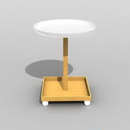 Round wooden display table 3d model