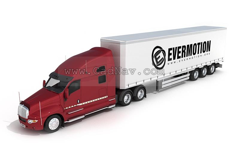 Elongated Container Truck 3d Model 3ds Max Files Free