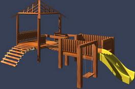 Kids swings, slides, sports equipment 3d model