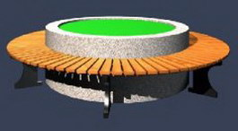 Wood outdoor circular bench 3d model
