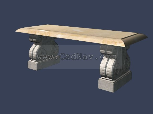 Garden Stone Bench 3d Model 3ds Max Files Free Download