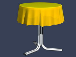 Metal Coffee Table and tablecloth 3d model