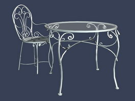 Garden wrought iron table and chair sets 3d model