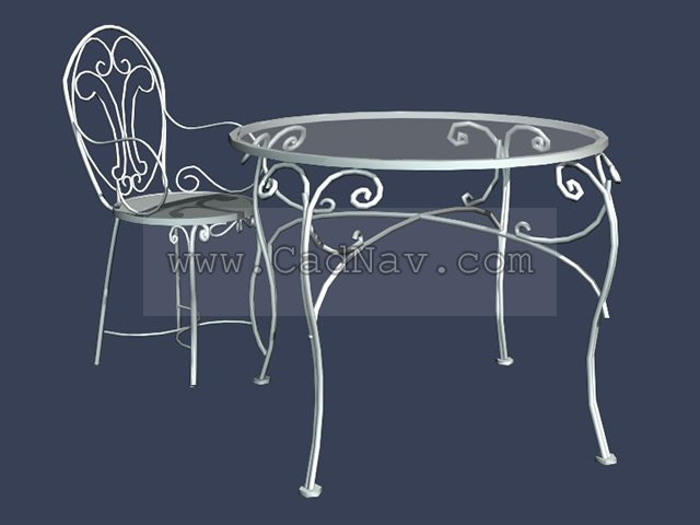 garden wrought iron table and chair sets 3d model - Garden Furniture 3d Model