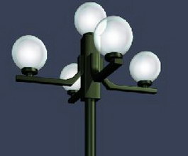 5 lamp Garden post light 3d model