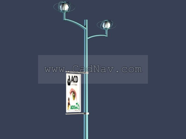 Billboard Advertising Street Lights 3d Model 3ds Max Files