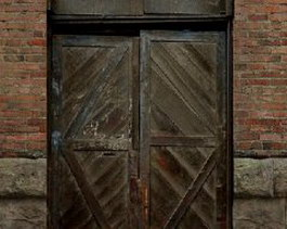 Brick wall wooden door texture