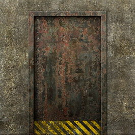 Concrete rusty metal door texture