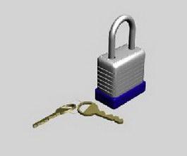 Padlock and key 3d model