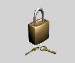 Brass padlock and key 3d model