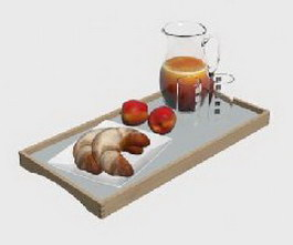 Hearty breakfast set 3d model