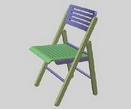 Wooden folding chairs 3d model