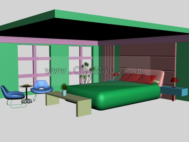 Bedroom integration design 3d model 3ds max files free for Decor 3d model