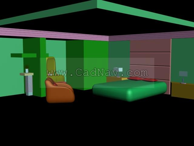 Master bedroom space design 3d model 3ds max files free for Decor 3d model