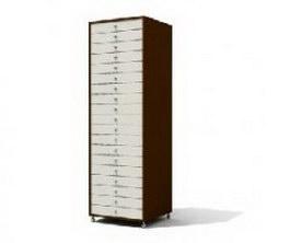 Wooden filing cabinet 3d model