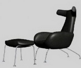 Leather Lounge Chair and Sofa footrest 3d model