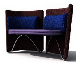 Fabrics two-seater settee 3d model
