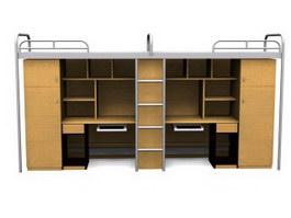School Desks and Dormitory Beds units 3d model