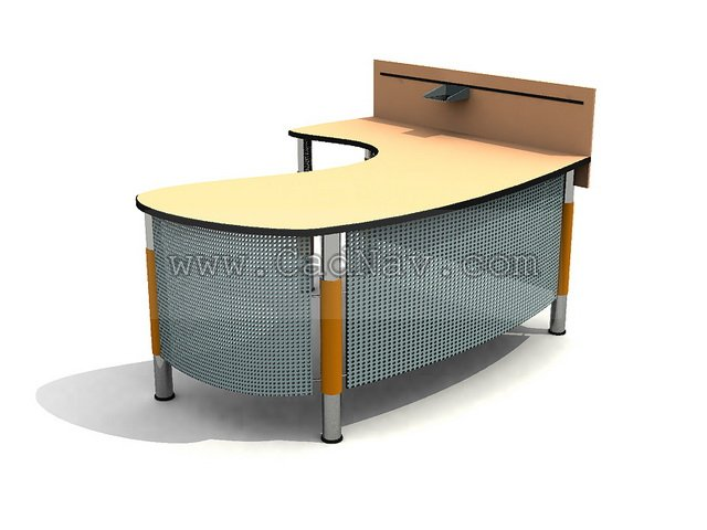 Curved office desk 3d model 3Ds Max files free download - modeling ...