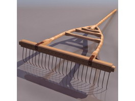 Wooden-framed spiked harrow 3d model