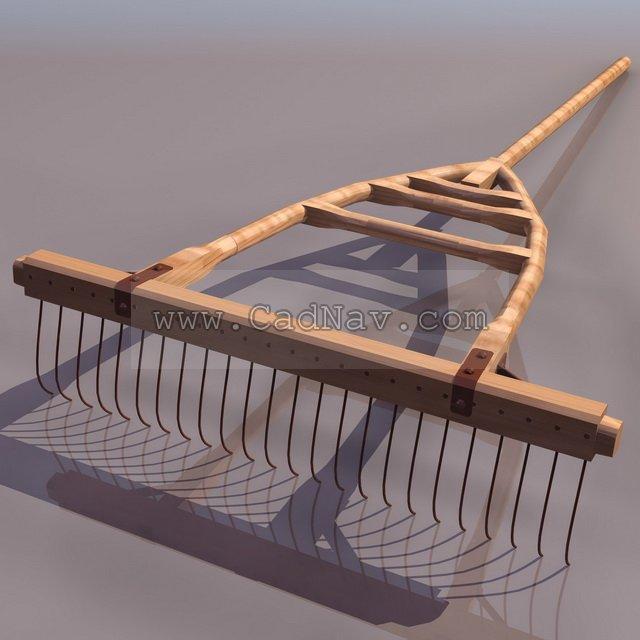 Wooden-framed spiked harrow 3d rendering