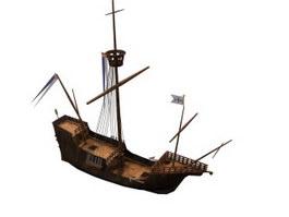 Santa maria sailing boat 3d model