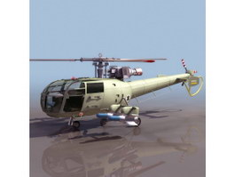 Alouette II Army Helicopter 3d model
