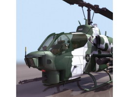AH-1 Cobra attack helicopter 3d model
