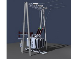 Overhead high voltage line transformer 3d model