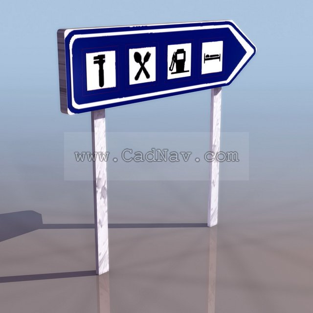 Highway Service Area Sign 3d Model 3ds Max 3ds Files Free