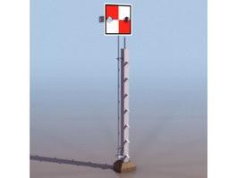 Railroad crossing sign 3d model