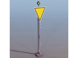 Railway caution sign 3d model