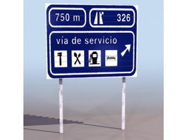 Highway Service sign 3d model
