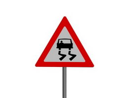 Slippery When Wet traffic signs 3d model