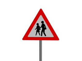 Watch Out for Pedestrians traffic signs 3d model