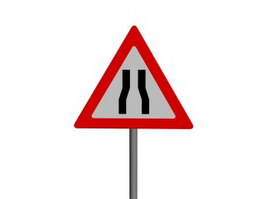 Road Narrows on Both Sides traffic signs 3d model