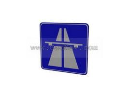 German highway traffic signs 3d model