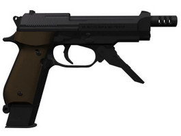 BRTA93 pistol with a silencer 3d model