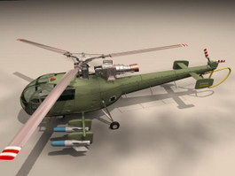 Alouette III anti-submarine helicopter 3d model