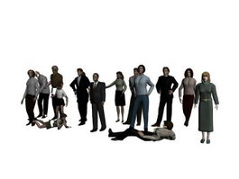 Group of people 3d model