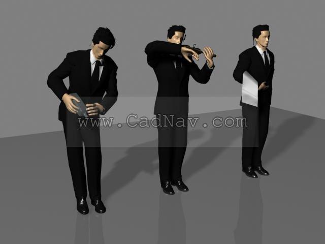 Restaurant Waiter 3d model 3Ds Max files free download ...