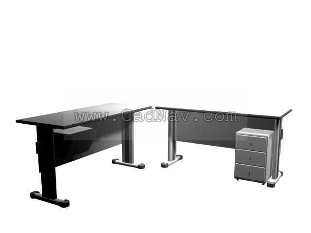 steel office desk 3d model 3ds max files free download - modeling
