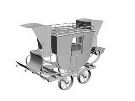 Horse Rail Wagon 3d model
