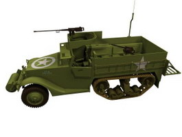 USA M3 armored half-tracks 3d model