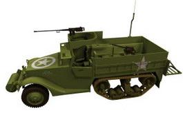 USA M3 armored half-tracks 3d model