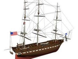 Barque schooner 3d model