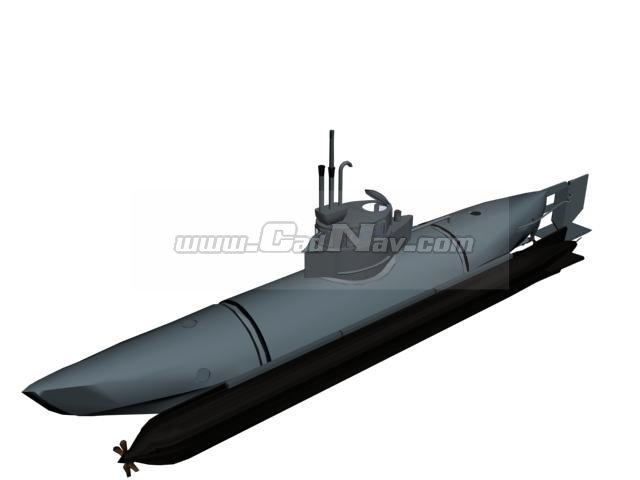 German Midget Submarine Biber 3d Model 3Ds Max3ds Files