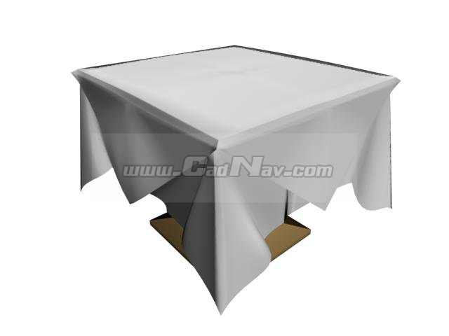 Square Table And Table Cloth 3d Model