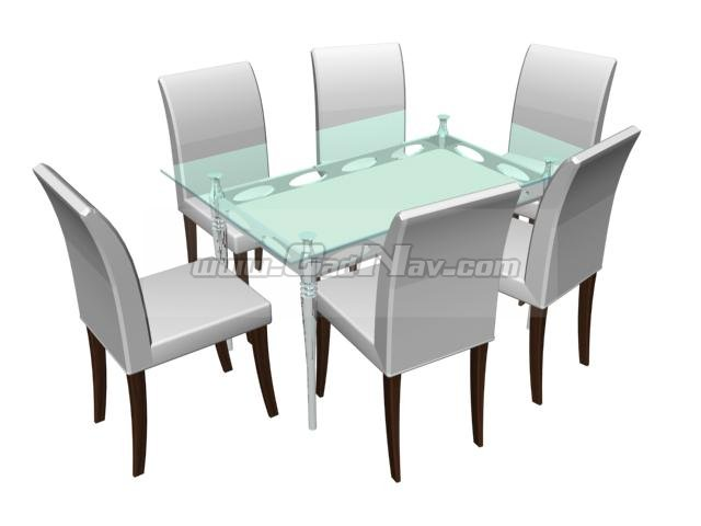 glass dining table and dining chairs 3d model 3ds max files free download modeling 2038 on cadnav. Black Bedroom Furniture Sets. Home Design Ideas