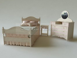 Girl Bed and dressing table 3d model
